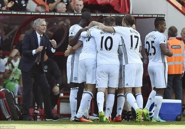 The 34-year-old was mobbed by his team-mates as United boss Jose Mourinho barks out instructions