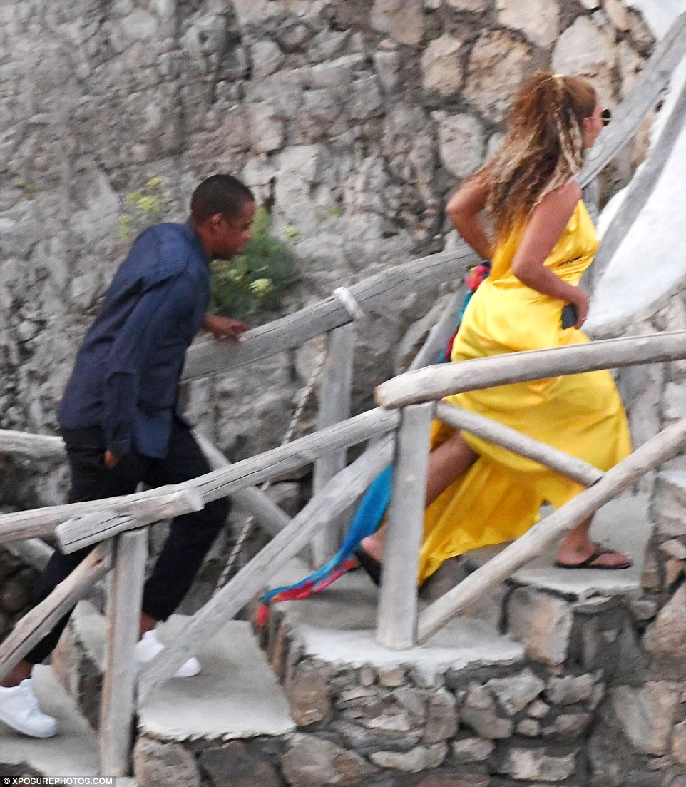 Ladies first! Having arrived at the restaurant, they ascended the pretty stone winding stairs