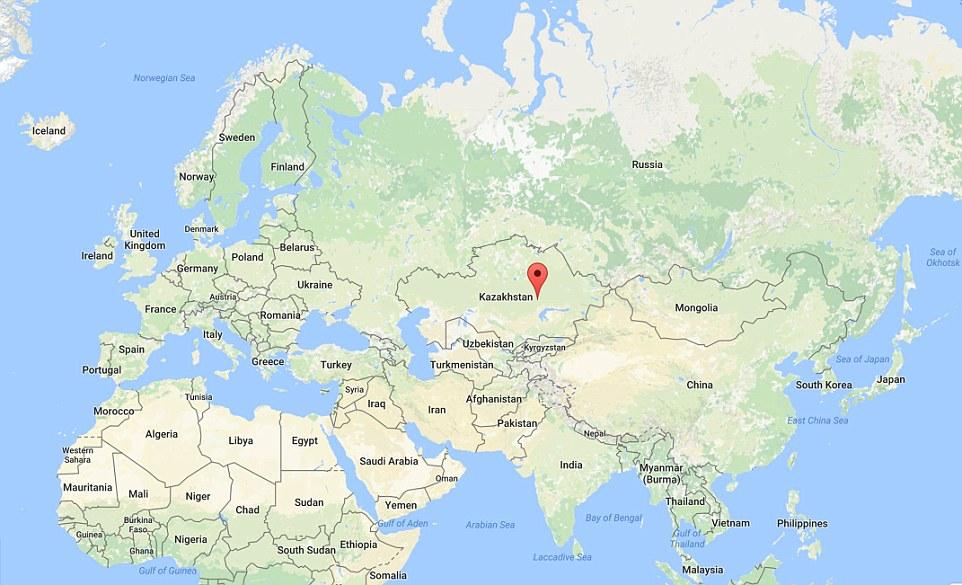 A localização do distrito de Shet onde a nova pirâmide foi descoberta no Cazaquistão - 3900 milhas do Cairo, no Egito