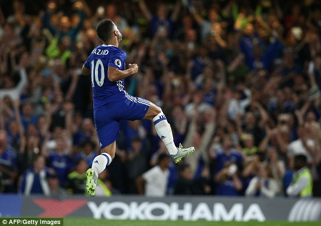 Eden Hazard leaps in the air after scoring Chelsea's opener in the 2-1 win over West Ham