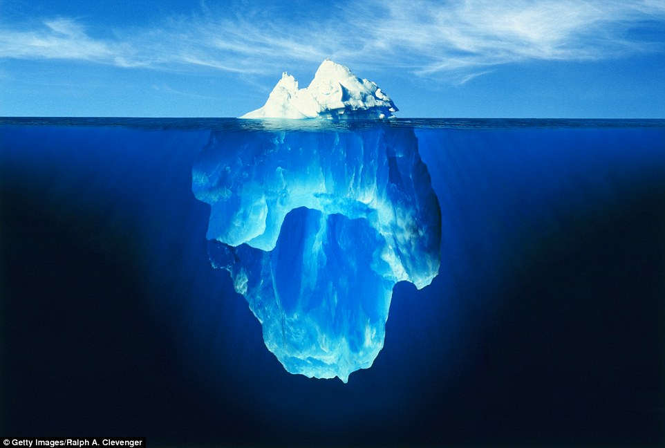 Only ten per cent of an iceberg is visible from above the surface of the water, the rest of its mass lies beneath it, as seen here in Ralph A. Clevenger's Antarctic photo
