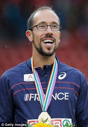 Gold Medalist Yohann Diniz Stands On The Podium At The European Championships In