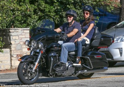 Chopper time: George and Amal were in casual mode for their sun soaked ride