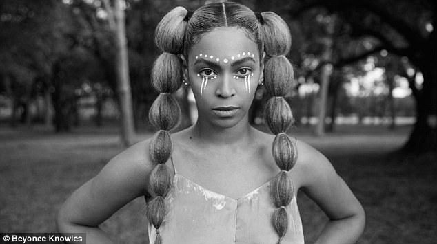 Stunning: She had two huge pigtails and tribal make-up on her face in a black and white photo
