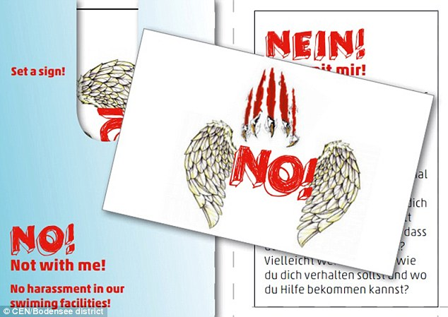 Young girls at German swimming pools are being given temporary tattoos (pictured) with the word 'NO!' on them in an attempt to put off rapists