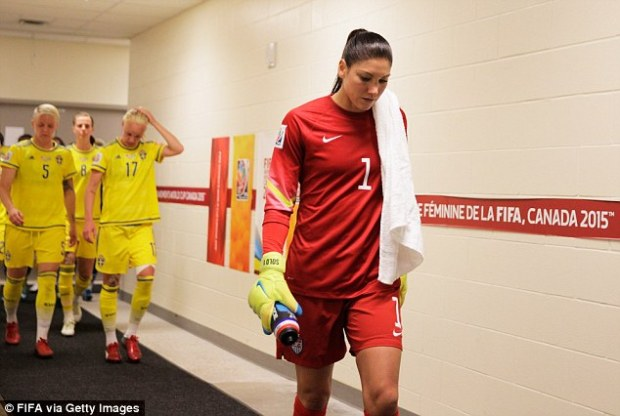 The goal keeper controversially said 'I think we played a bunch of cowards' after they lost to the Swedes in the quarterfinals of the Olympics. She is pictured at the women's Wold Cup during halftime of another game against Sweden on June 12