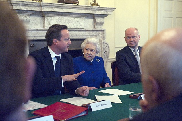 The loss of power: Her majesty Queen Elizabeth II makes historic visit to 10 Downing Street and sits with Prime Minister David Cameron at the UK government weekly cabinet