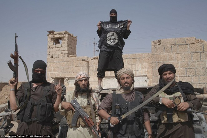 ISIS fighters pictured in 2014 at the height of their power. But in recent months they have been retreating and falling back on Raqqa as they come under attack from all sides