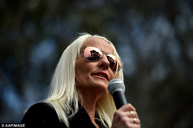 Founder and president of the Love Australia or Leave party Kim Vuga is pictured speaking to anti-Islam supporters at the rally