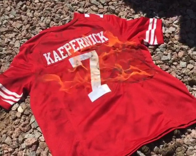 wheelchair knee glider chairs for garden san francisco 49ers fans burn colin kaepernick jerseys to the national anthem | daily mail online