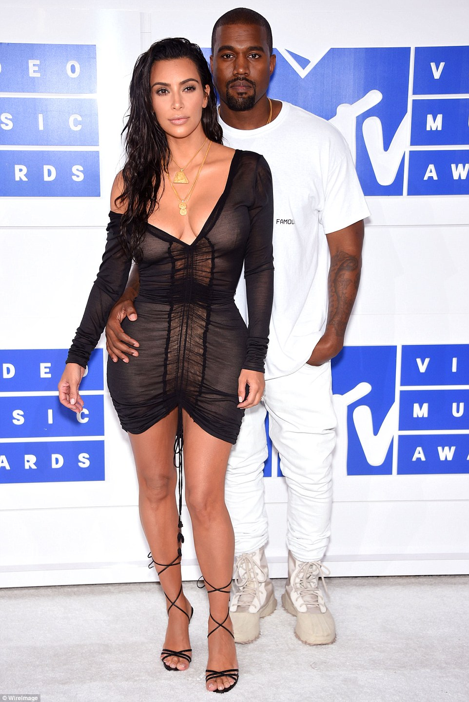 So Famous: Kim was joined by husband Kanye who later made a speech and presented his new video Fade