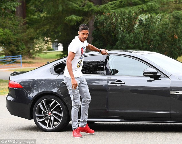Real Madrid centre back Raphael Varane also wore a white Philipp Plein t-shirt worth £300