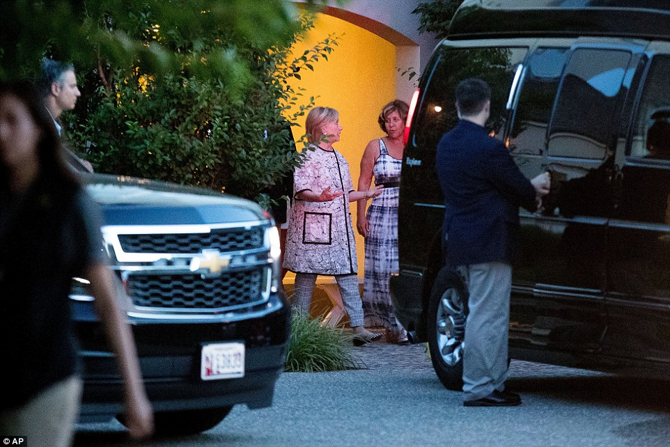 Private talk: Clinton was seen chatting with Riklis (above) as she left Sunday night