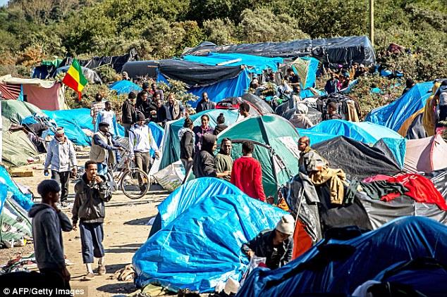 Migrantes a pie en un sitio conocido como el de la selva, donde miles de personas han establecido un campamento