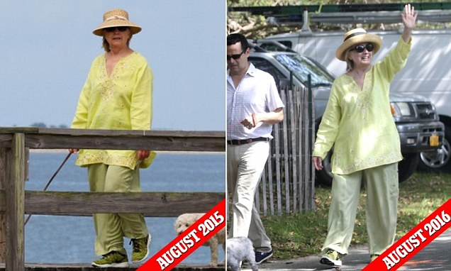 Hillary Clinton wears lime green tunic in the Hamptons attending three-day fundraiser
