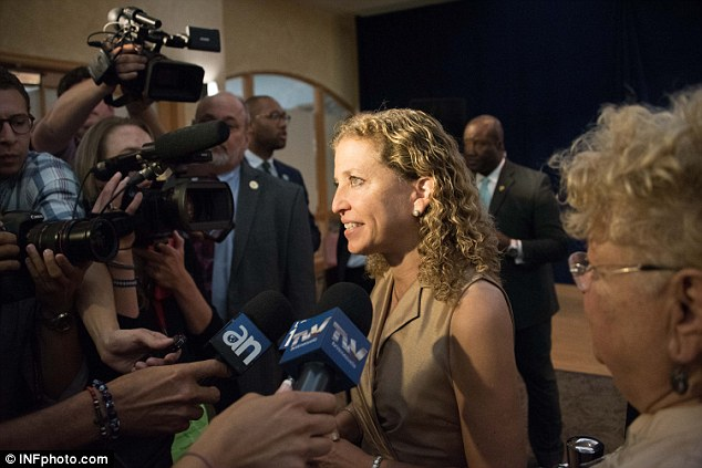 Central to the allegations is the DNC email leak which led to the resignation of Debbie Wasserman Schultz (pictured), and allegations that the data was provided by Russia