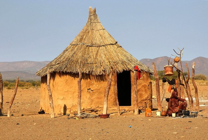 A scene documenting rural tribal life in northern Namibia, captured by Swedish documentary maker Bjorn Persson
