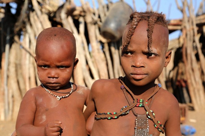 Young members of the Himba tribe were pictured by Swedish documentary maker Bjorn Persson