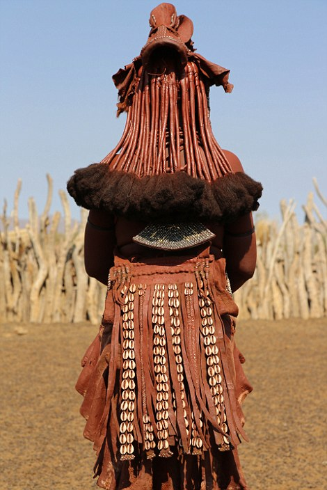 One of the distinctive outfits worn by female members of the Himba tribe