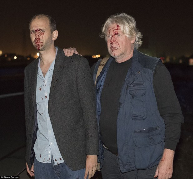 Our reporting team was investigating the worrying phenomenon when they came under attack in the early hours of Friday on the N216. Pictured, Ben Ellery (left) and photographer John McLellan