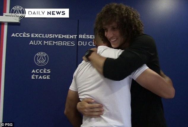 David Luiz returned to Paris Saint-Germain to bid farewell to his former team-mates
