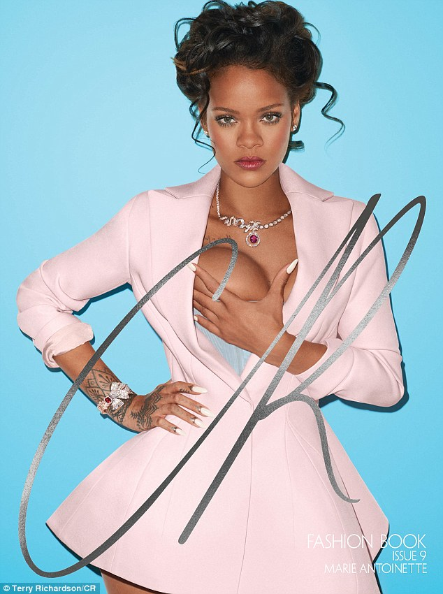 Reigning supreme: Rihanna transformed into a saucy modern-day Marie Antoinette for a CR Fashion Book cover shot by Terry Richardson
