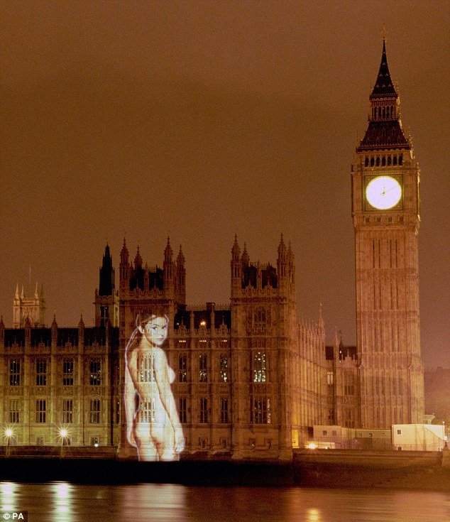 Infamous: Gail's image was beamed onto the Houses of Parliament back in 1999 in an FHM publicity stunt