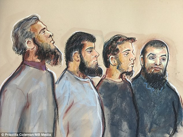 In the dock: Naweed Ali, 28, Khobaib Hussain, 24, Mohibur Rahman, 31, and Tahir Aziz, 37, (left to right) appeared at Westminster Magistrates Court today each charged with one count of intending to commit acts of terrorism