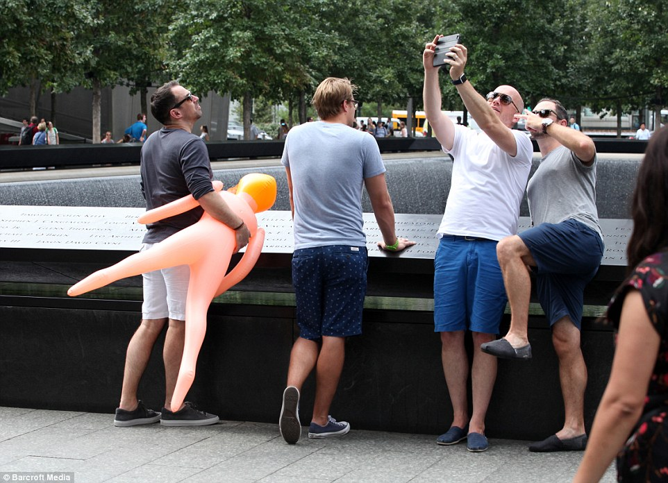 The British stag-do caused outrage by taking selfies with a blow-up sex doll at Ground Zero two days before the anniversary of the 9/11 terror attacks
