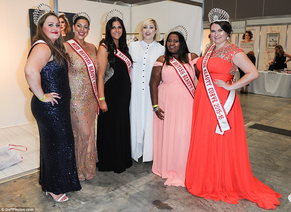 Beauty queens: Hayley was loving life as she chatted to glamorous pageant stars behind-the-scenes