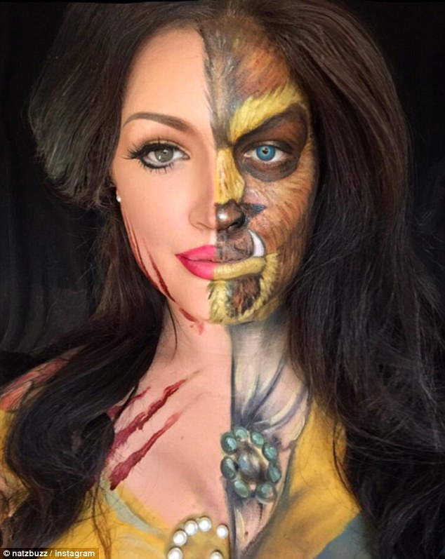 woman transforms herself into