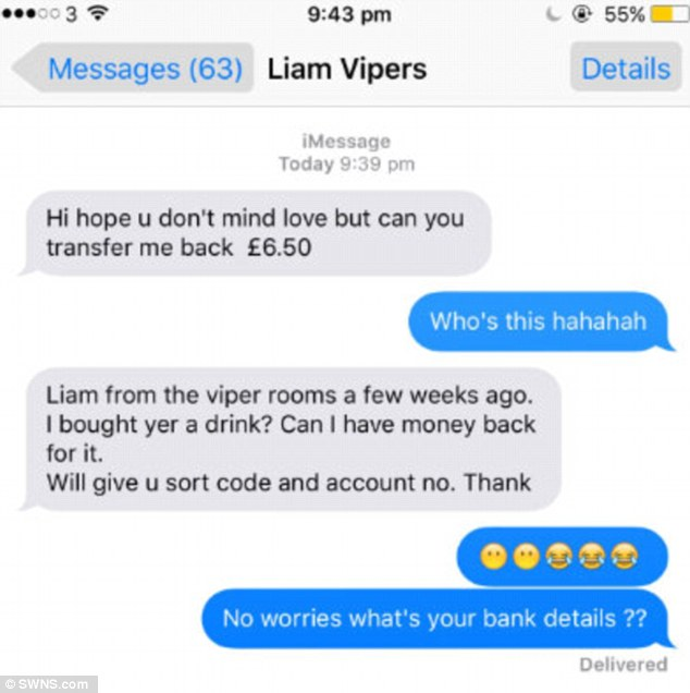 Miss Fenton received this message from 'Liam' asking her to pay him back for the drink
