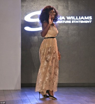 Champion: The 34-year-old professional athlete strutted her stuff down the catwalk as she unveiled the Diamonds Unleashed for Serena Williams collection