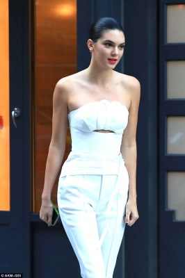 Stunner:Kendall wowed the crowd again as she stepped out in a chic all white ensemble in New York City earlier on in the day on Monday