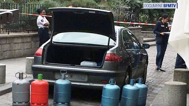 Propagandist Kassim has emerged as the link among at least four plots to attack France since June - including an all-female gang arrested over a car packed with explosives (pictured) left close to Notre Dame cathedral