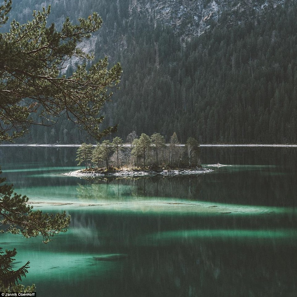 This little group of trees is actually one of the eight islands on Lake Eibsee in Germany. It's called Ludwigsinsel