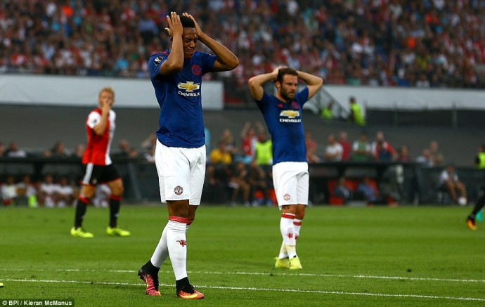 France international Anthony Martial reacts after coming close to opening the scoring for Manchester United