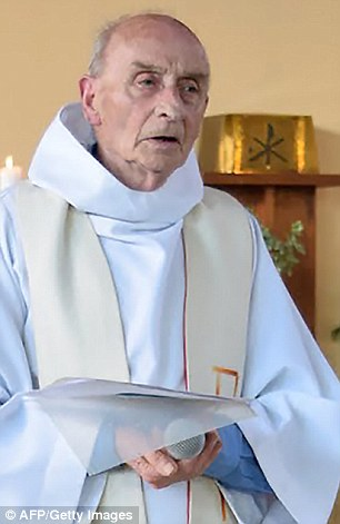 Kassim is suspected of ordering or inciting the killing of a police couple in their home in June and the murder of elderly priest Jacques Hamel (pictured)  in a Normandy church in July, police sources said