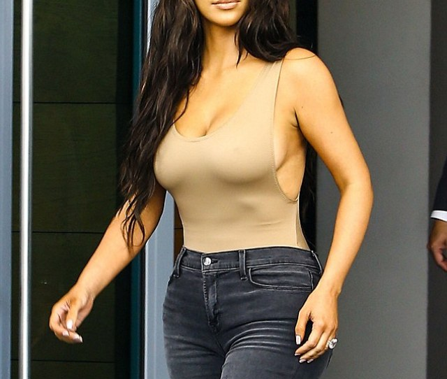 In The Nude Kim Kardashian Shows Off Her Curves As She Goes Braless In A