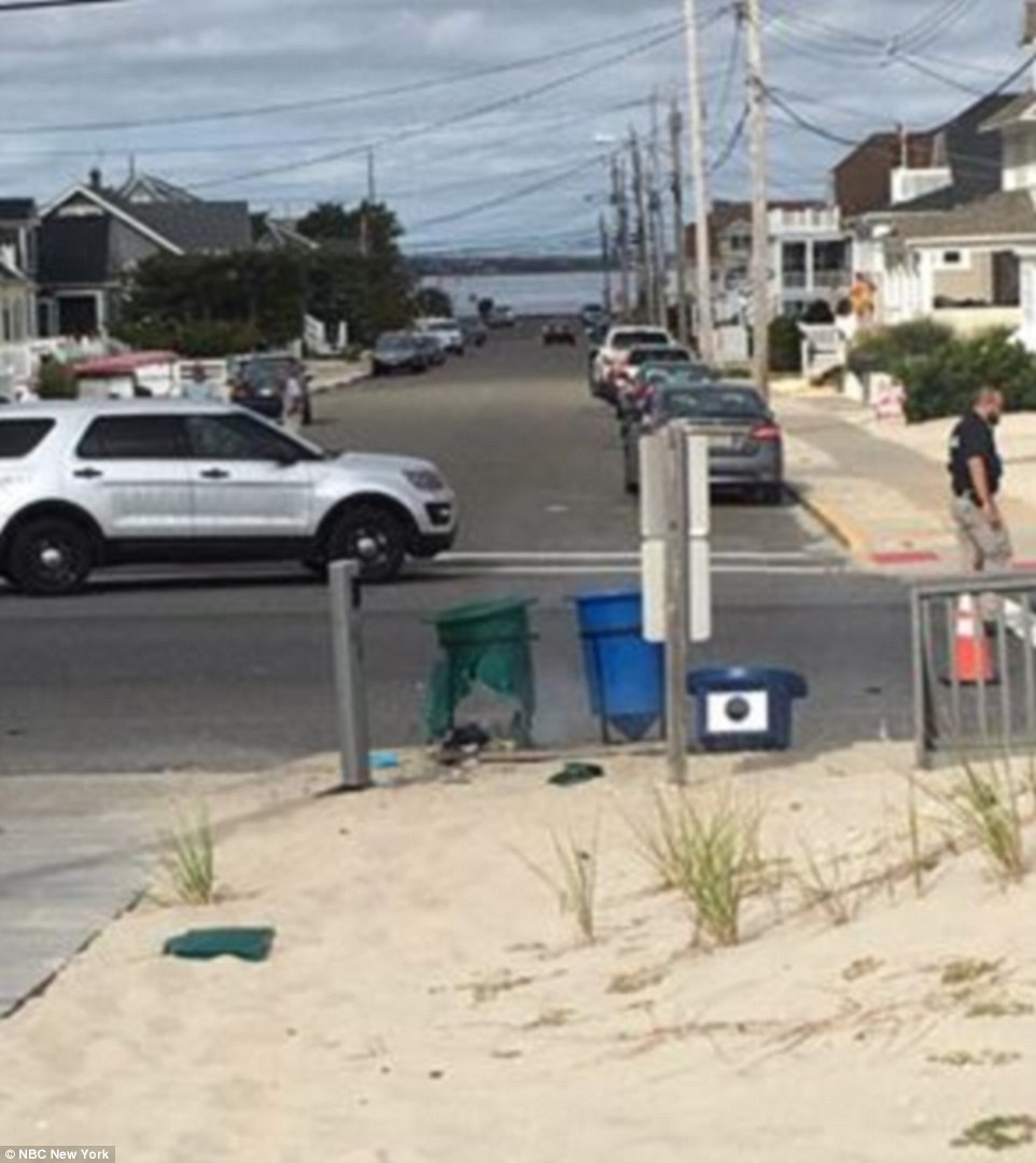 Earlier Saturday, a pipe bomb went off at a charity run in Seaside Park, New Jersey (above). No one was injured in that incident