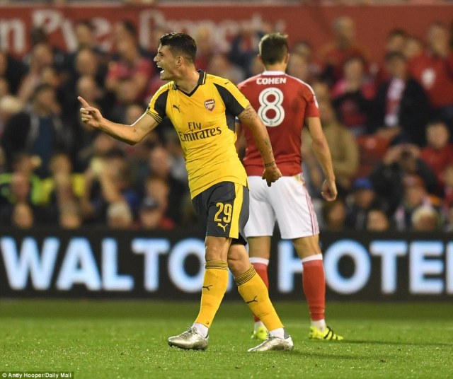 Xhaka is all smiles after finding the net for the second time in in four days with another speculative effort