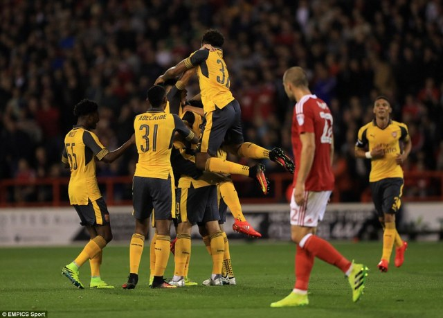 The Swiss midfielder was mobbed by his team-mates after breaking the deadlock in the EFL Cup third round clash