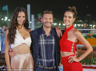 Three's a crowd: Ryan joined Adriana and fellow model Alessandra Ambrosio in Rio as part of NBC's Olympic Games coverage