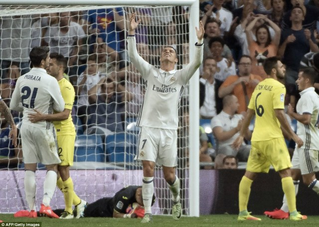A string of chances went begging for Real Madrid as the likes of Ronaldo and Gareth Bale failed to find a way through to win