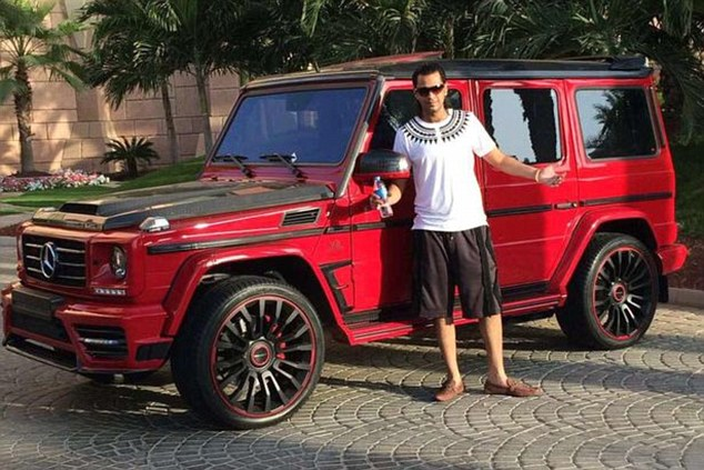 He poses with a specialist Mercedes 4x4 in another picture documenting his lavish lifestyle