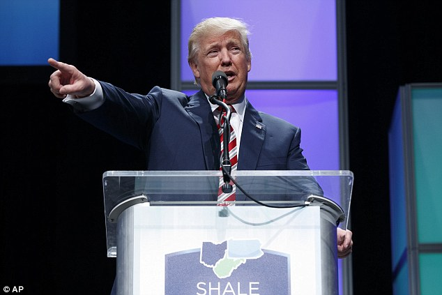 Republican presidential candidate Donald Trump spoke to a fracking conference in Pittsburgh, Pennsylvania on Thursday, detouring from remarks about energy to address race-riots in Charlotte, North Carolina that followed a police shooting