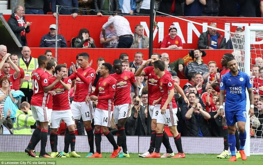 United celebrate the opening goal at Old Trafford, scoring by their stand-in captain Chris Smalling