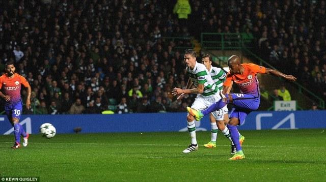 Manchester City were quickly level when Fernandinho (right) got on the end of Aleksandar Kolarov's scuffed shot to equalise