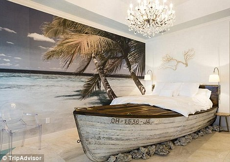 There is also a room with a bed frame crafted to look like a boat