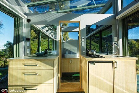 While the pod might be small it includes a bathroom and a bio-fuel fire
